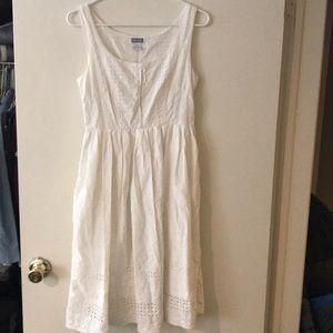 White eyelet sleeveless dress